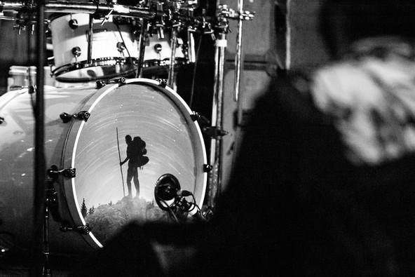 Black and white image of InMe drum set at Bristol Exchange