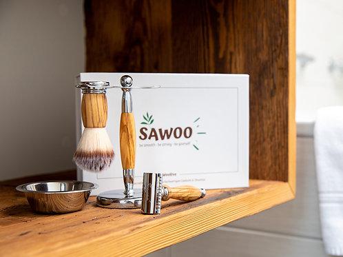 "SAWOO - hochwertiges, veganes Rasierset ""Woolive"" - 5tlg. für Mann & Frau"