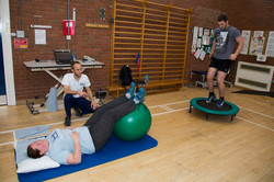 Physiotherapist with patients