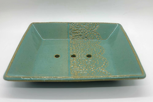 Handmade Ceramic Soap Dish (teal & lace)