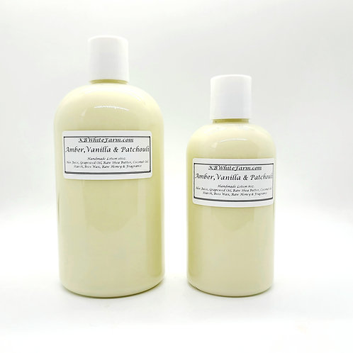 Amber, Vanilla and Patchouli Lotion Large 16oz.