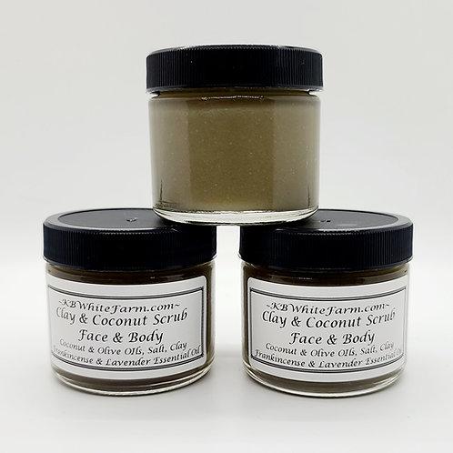 Clay, salt, lavender & frankincense scrub