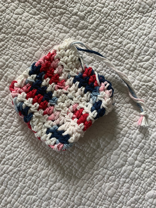 Hand Crafted Soap Saver - Red, White and Blue