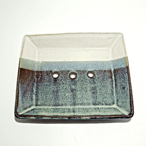 Purple,Cream and Green-Ceramic soap dish