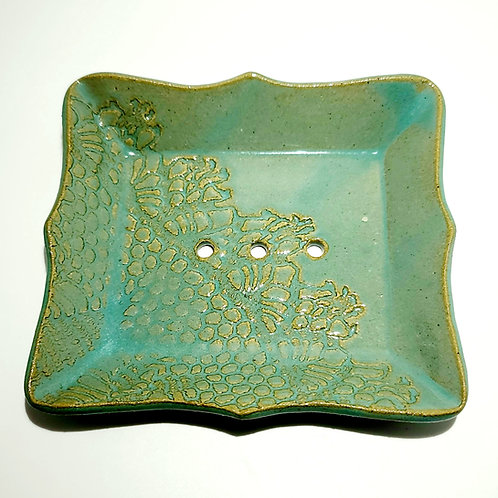 Sea grass and Lace-Ceramic soap dish