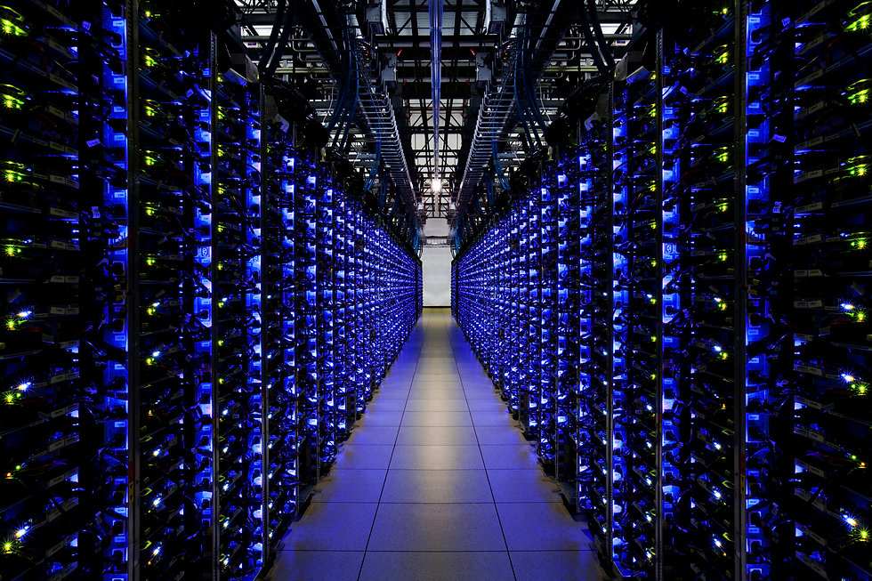 Picture of large computer servers in an open room
