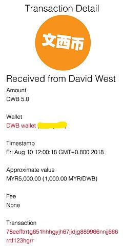 transaction detail - Sandy LU MYR 5,000.