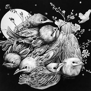Fledgelings, Charcoal and graphite. 2020