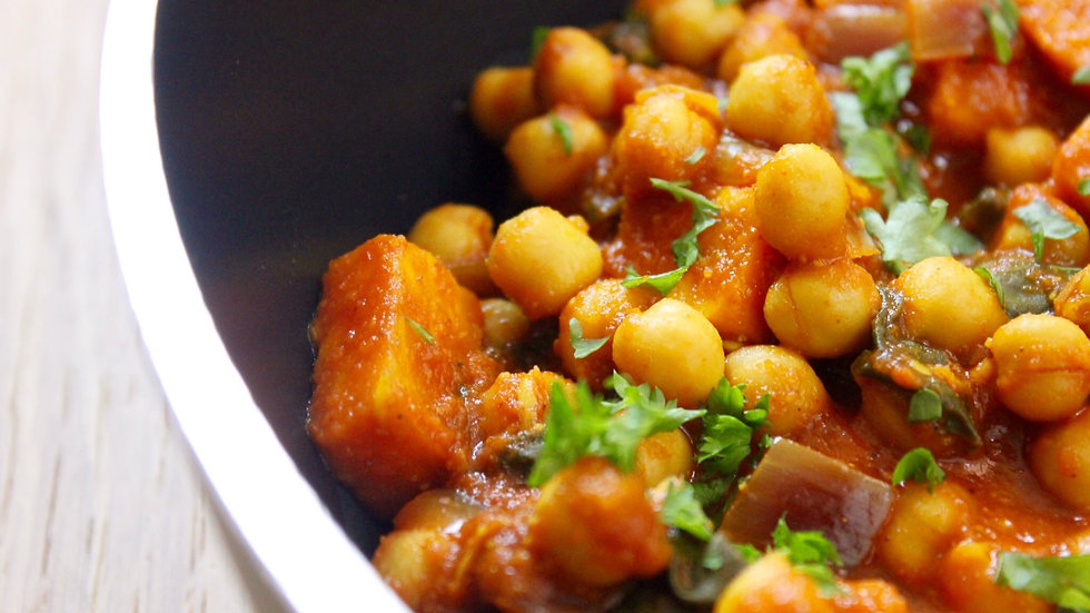 Sweet potato and chick pea curry