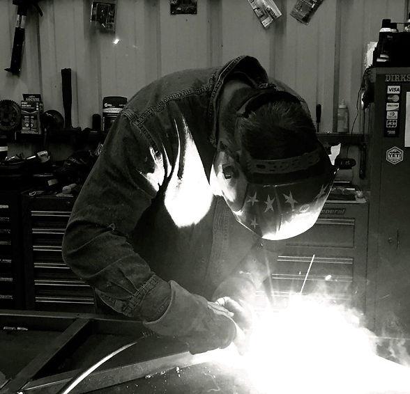 Ben Dirks from Dirks Metal Works welding a custom design