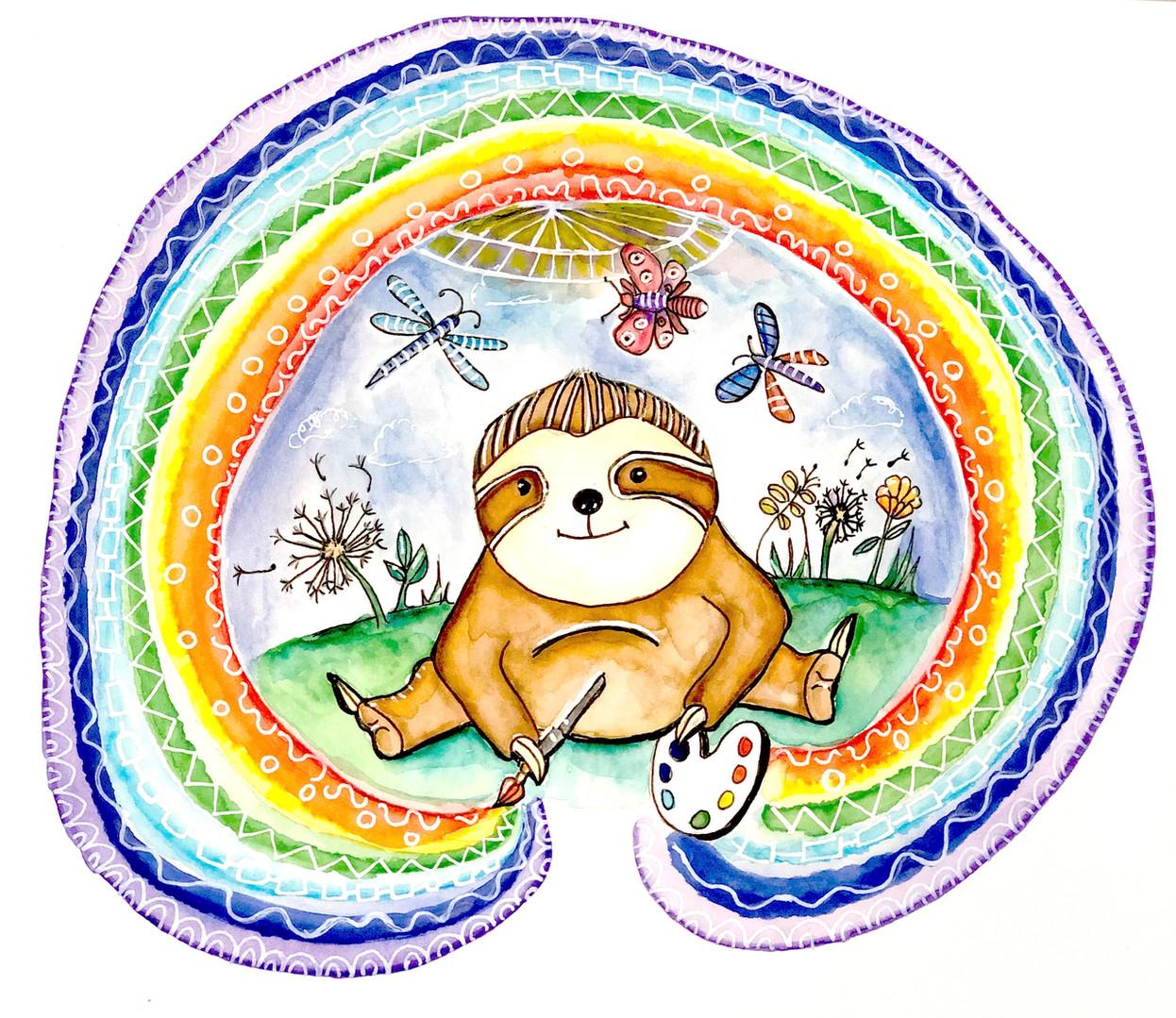 Happy Sloth by Jocelyn Fitzgerald