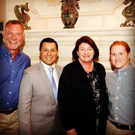 Assemblymember Eduardo Garcia, Senate President pro Tempore Toni Atkins, Josh Zipperman at home of Brian Rix