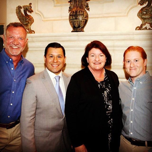Assemblymember Eduardo Garcia, Senate President pro Tempore Toni Atkins, Josh Zipperman at home of Brian Rix