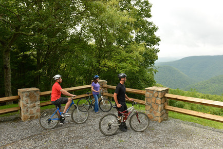 People biking to overlook at Pipestem Resort State Park
