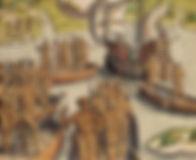Ataque de Portuguesese Tupiniquins às cabanas Tupinambás - século XVI -Theodor de Bry