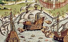 Ataque de Portuguesesa Corsário francês - século XVI -Theodor de Bry