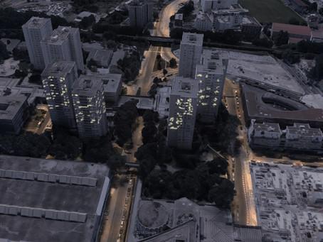 La lumière comme lien entre les tours à Bobigny