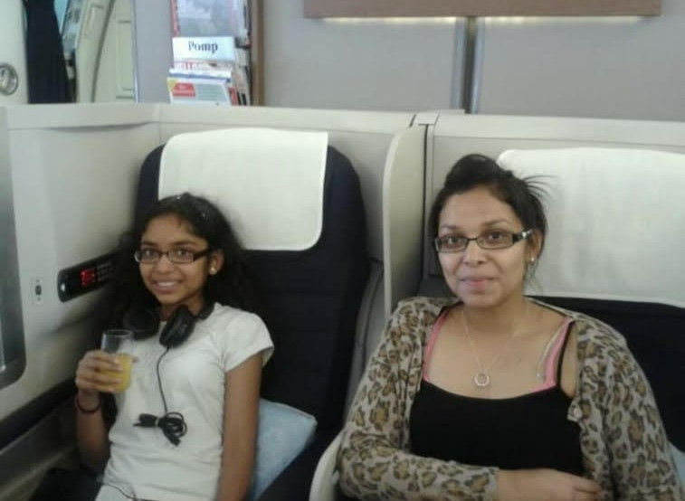 My older sister and I ready for our 9 hour flight to Mumbai.