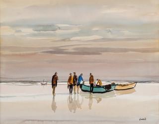 Pescadores en el río s.f