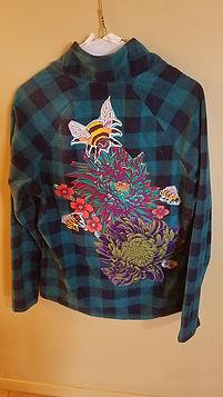 Bees on floral fleece.jpg.jpg