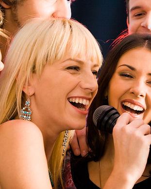 Group Karaoke, girl singing, group singing