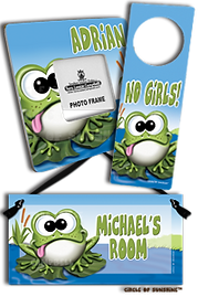 cute personalized frog door sign