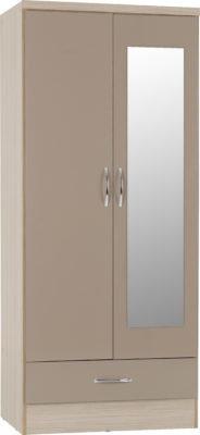 Wynn Mirrored 2 Door 1 Drawer Wardrobe (Oyster Gloss/Light Oak Effect)