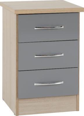 Wynn 3 Door Bedside Cabinet (Grey Gloss/Light Oak Finish)