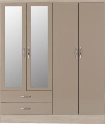 Wynn - 4 Door 2 Drawer Mirrored Wardrobe (Oyster Gloss/Light Oak Effect)