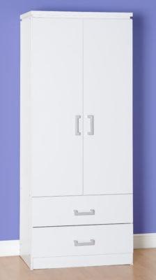 Henry 2 Door 2 Drawer Wardrobe (White)