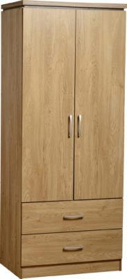 Henry 2 Door 2 Drawer Wardrobe (Oak Effect Veneer/Walnut Trim)