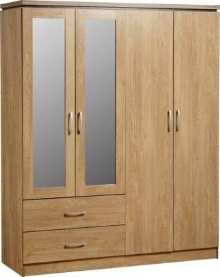 Henry - 4 Door 2 Drawer Mirrored Wardrobe (Oak Effect/Walnut Trim)