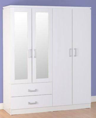 Henry - 4 Door 2 Drawer Mirrored Wardrobe (White)