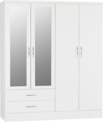 Wynn - 4 Door 2 Drawer Mirrored Wardrobe (White Gloss)