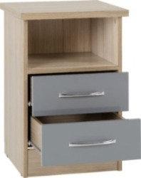 Wynn - 2 Drawer Bedside Cabinet (Grey Gloss/Light Oak Effect)