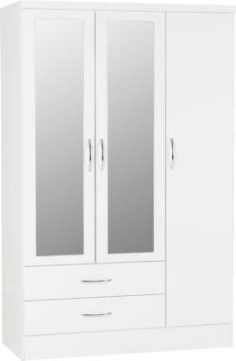 Wynn - 3 Door 2 Draw Mirrored Wardrobe (White Gloss)