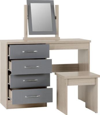 Wynn - 4 Drawer Dressing Table Set (Grey Gloss/Light Oak Effect)