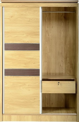 Henry 2 Door Sliding Wardrobe (Oak Effect Veneer/Walnut Trim)