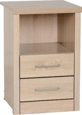 Shane - 2 Drawer 1 Shelf Bedside Cabinet (Light Oak Effect Veneer)