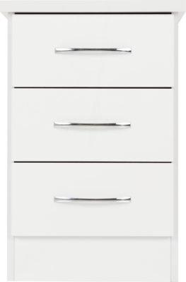 Wynn 3 Drawer Beside Cabinet (White Gloss Effect)