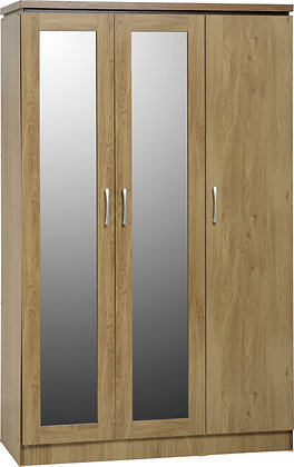 Henry - 3 Door All Hanging Wardrobe (Oak Effect/Walnut Trim)