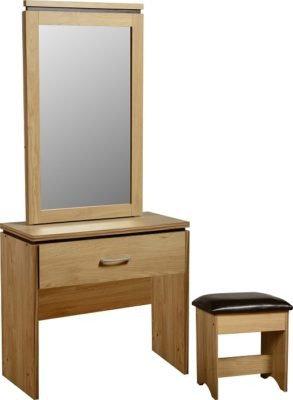 Henry 1 Door Dressing Table Set (Oak Effect Veneer/Walnut Trim..)