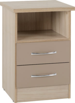 Wynn - 2 Drawer Bedside Cabinet (Oyster Gloss/Light Oak Effect Veneer)