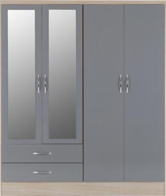 Wynn - 4 Door 2 Drawer Mirrored Wardrobe (Grey Gloss/Light Oak Effect)