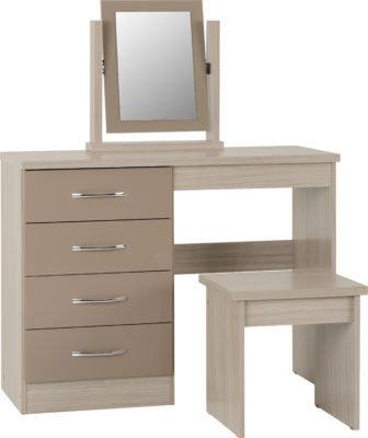 Wynn - 4 Drawer Dressing Table Set (Oyster Gloss/Light Oak Effect)