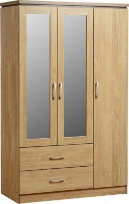 Henry 3 Door 2 Drawer Mirrored Wardrobe (Oak Effect Veneer/Walnut Trim))