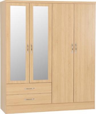 Wynn - 4 Door 2 Drawer Mirrored Wardrobe (Sanoma Oak Effect)