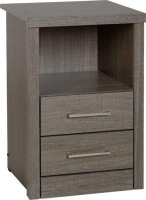 Shane - 2 Drawer 1 Shelf Bedside Cabinet (Black Wood Grain)