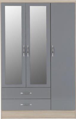 Wynn - 3 Door 2 Draw Mirrored Wardrobe (Grey Gloss/Light Oak Effect)