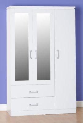 Henry 3 Door 2 Drawer Mirrored Wardrobe (White)